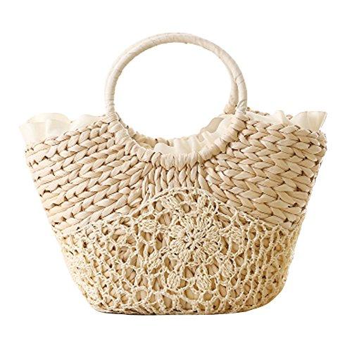 Fashion Vacation Item/Silk Edge Crochet Flower Straw Hand Bag/ Beach Bag/White Hand Crochet Edge