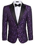 Donet Mens Floral Party Dress Suit Notched Lapel Stylish Dinner Jacket Wedding Blazer Prom Tuxedo Purple 3X-Large