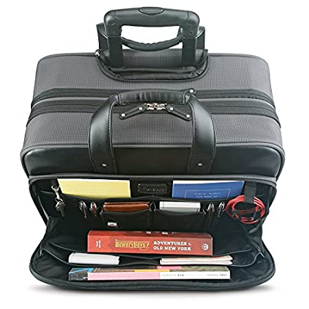 Solo New York Gramercy Rolling Laptop Bag 4 Wheel Rolling Briefcase for Women and Men Grey Fits up to 15.6 inch laptop