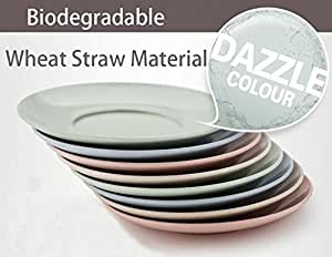 Wheat Straw Material Small Plates Dishes Dinnerware Nordic Style Fresh Color Natural Healthy Material Biodegradable 4 piece
