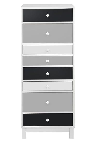 Kommode schmal hoch  Moderne Kommode Hoch Schmal 40 x 34 x 120 cm mit 8 Schubladen Weiß ...