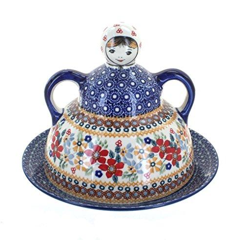 (Polish Pottery Red Daisy Cheese Lady )
