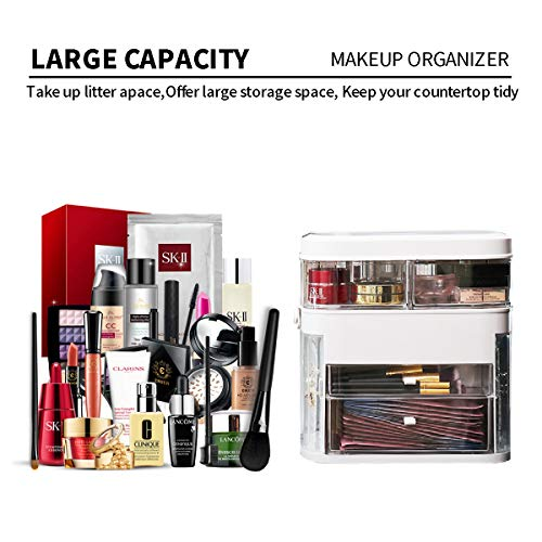 MIUOPUR Makeup Organizer with Dustproof, Large Capacit with Mirror and Lights, Cosmetics, Skincare and Jewelry Storage Display Box, 2 Rotating Trays and Drawers, Portable Travel case. - White