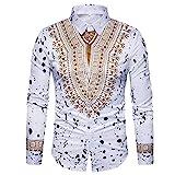 Men's Shirts On Sale, Jiayit Men's Casual African Print Tops Dashiki T-Shirt Autumn Long Sleeve Fashion Tops Tee Blouse (3XL, White)
