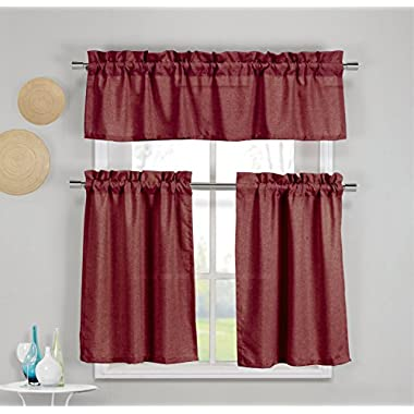 3 Piece Faux Cotton Kitchen Window Curtain Panel Set with 1 Valance and 2 Tier Panel Curtains (Wine Red)