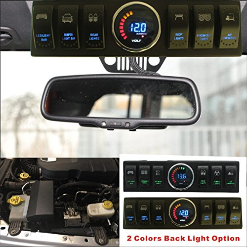 Apollointech Jeep Wrangler JK & JKU 09-16 Windshield Top 6-Switch Pod / Panel with Control and Source System Relay Box Blue Back Light( Comes with 10 Laser Switch Covers )