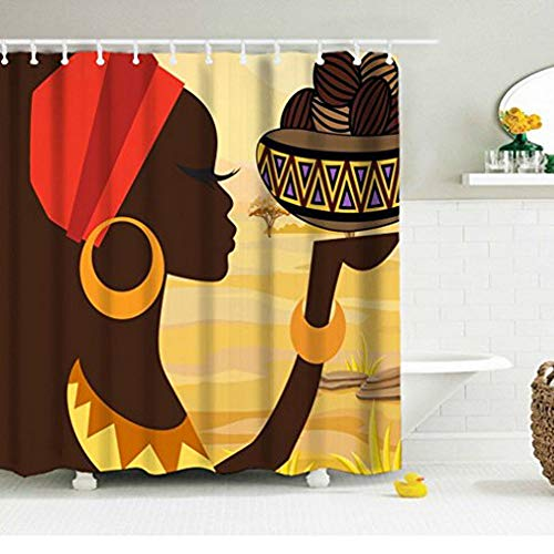 - African Young Woman Shower Curtain, Brown Skin Long Eyelashes with Shining Gold Round Earrings Bracelet Lifting Food with Traditional Container in Vast Savanna Fabric Machine Washable Bath Curtain