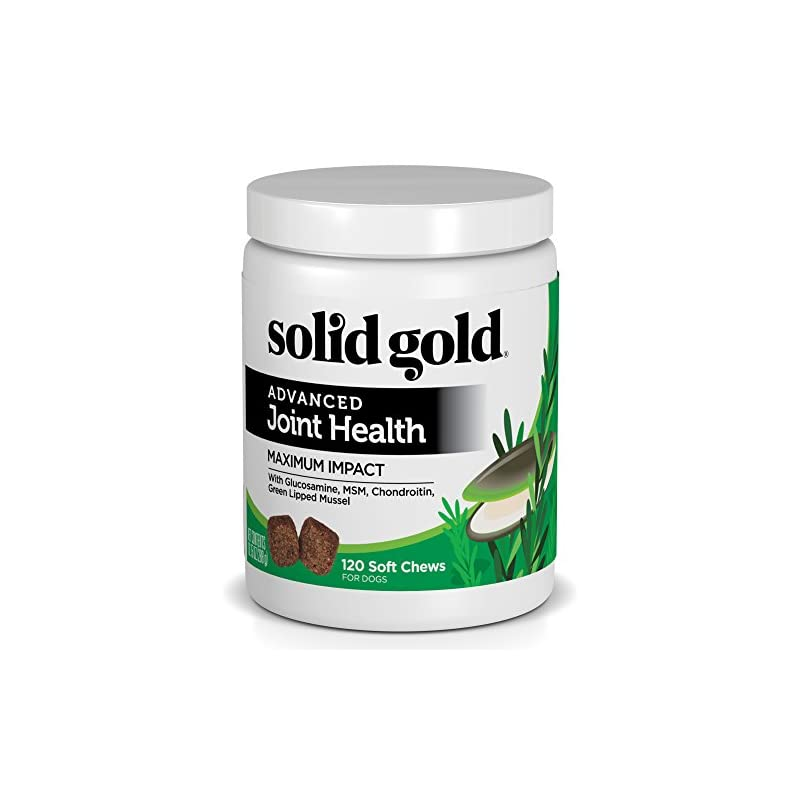 dog supplies online solid gold glucosamine & advanced joint health chews for dogs; natural, holistic grain-free supplement with glucosamine, msm & chondroitin; 120ct