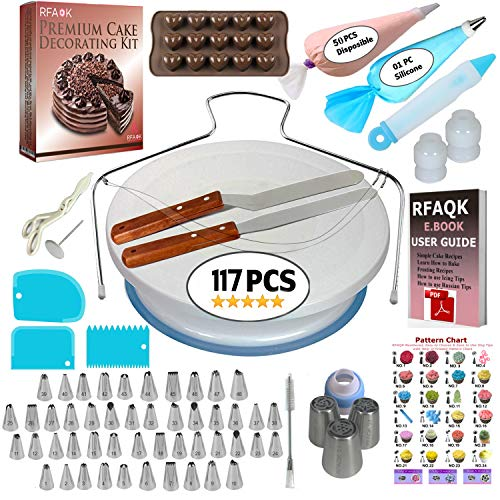 117 Pcs Cake Decorating Supplies Kit for Beginners-1 Turntable stand-48 Numbered icing tips with pattern chart & E.Book-1 Cake Leveler-Straight & Angled Spatula-3 Russian Piping nozzles-Baking tools]()
