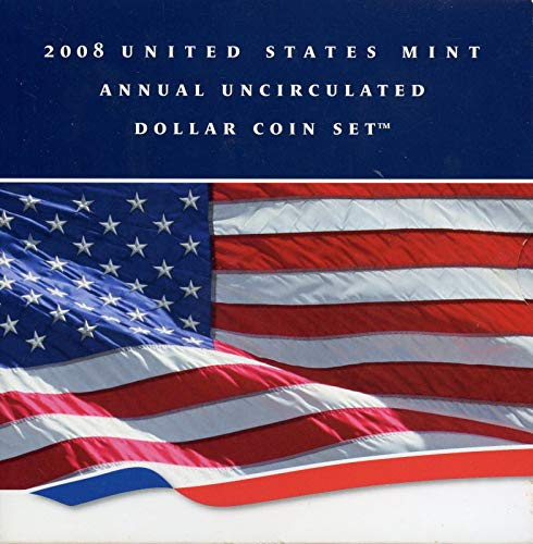 2008 U.S. Mint Annual Uncirculated Dollar 6-Coin Set w/Burnished Silver Eagle $1 Brilliant Uncirculated -