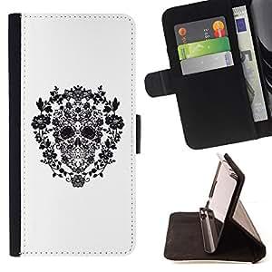 BullDog Case - FOR/Sony Xperia M2 / - / FLORAL WREATH WHITE BLACK SKULL DEATH /- Monedero de cuero de la PU Llevar cubierta de la caja con el ID Credit Card Slots Flip funda de cuer