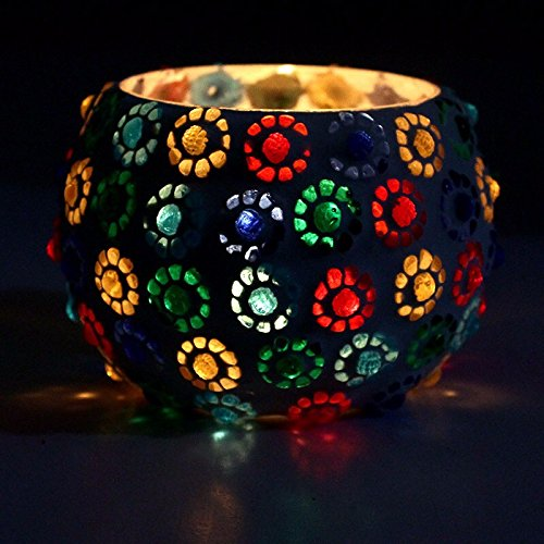 CraftVatika Mosaic Tea Light Centerpiece for Table Decoration - Handmade Multicolored Flower Votive Candle Holders | Decor For Living Room | Wedding Party Gifts (Model No. 289) (Mosaic Tealight Holder)