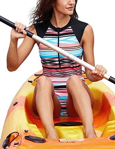 Kalin L Women Sleeveless Striped Print Zip Front Rash Guard One Piece Swimsuit Athletic Swimwear, Coral, Large