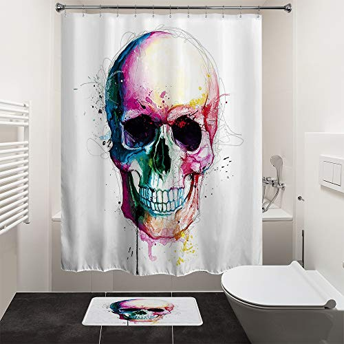 HIYOO Bathroom Polyester Fabric Waterproof Shower Curtain, Halloween Decor Decorations, Scary Theme Design, High-Definition Image, Hooks Included 60