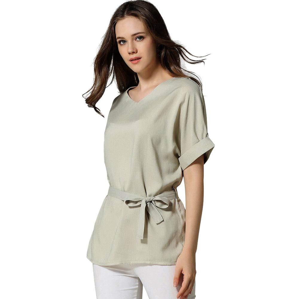 TIFENNY Summer Loose Tee Shirt Women's Fashion V Neckline Self Tie Short Sleeve Blouse Tops T-Shirt with Belt Beige