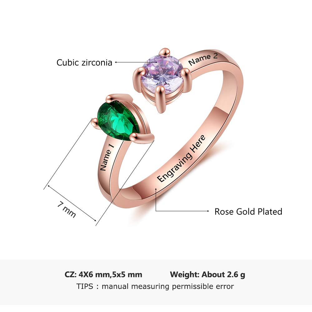 Love Jewelry Personalized 2 Names Simulated Birthstone Rings ...