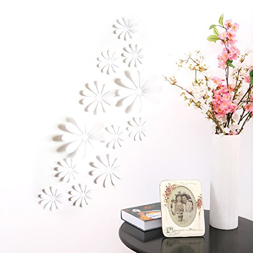 (Amaonm 24 PCS Cute 3D DIY Flowers Wall Decals Removale Home Art Decor Flowers Wall Stickers Murals for Kids Girls Room Bedroom Weeding Party Birthday Shop Windows Decorations (White))