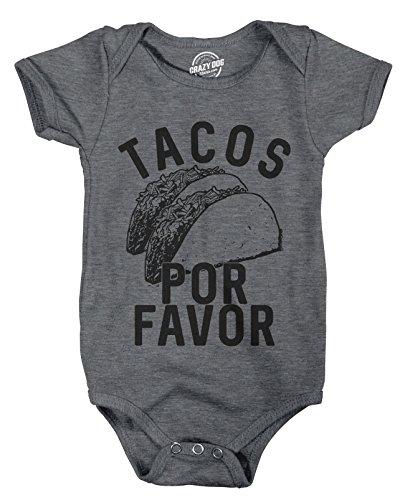 Crazy Dog T-Shirts Creeper Tacos Por Favor Funny Cinco De Mayo Bodysuit for Newborn Baby 3-6 Months Grey