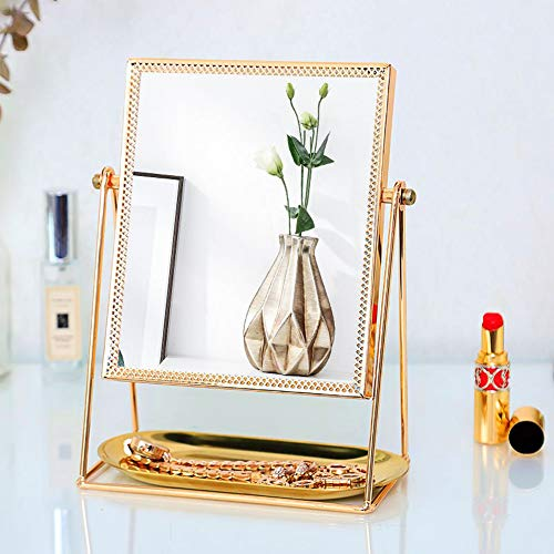 9c0e3e0eea05 GLODEALS Makeup Vanity Mirror, Decorative Makeup Mirror Rose Gold Vanity  Mirror Cosmetic Mirror Table Mirror with Single Sided 360°Rotation for ...