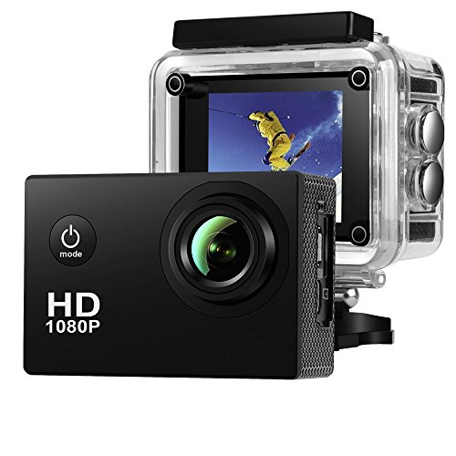 Outdoor Lcd Display (Action Camera ,Amuoc Waterproof 30m Sport Camera Full HD 1080P 2.0 Inch LCD Display 120 Degree Wide Angle Lens Sport Recorder Car Camera with Outdoor Accessories (Black))