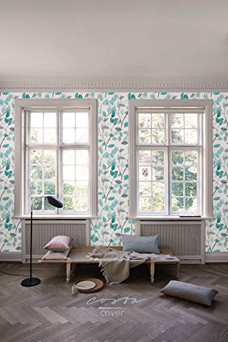 CostaCover Boho floral removable wallpaper SAMPLE with botanical print watercolor blue leaves temporary wallpaper spring pattern CC016 (6'' x 6'') (Floral Print Wallpaper)