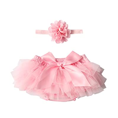 Baby Girl's Bloomer+Headband Set Diaper Cover,Colorful Lace Ruffles