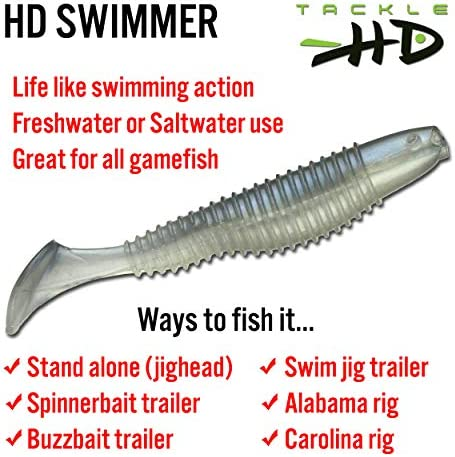 Tackle HD Swimmer 3.5 inch 10 Pack Bass Fishing Freshwater Saltwater Soft Plastic Swim Bait Lure