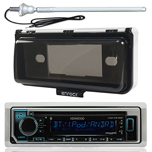 New Kenwood KMR-D368BT Marine Boat Yacht Outdoor In Dash Bluetooth MP3 USB AM/FM Radio Stereo Player With Splashproof Radio Cover, Marine Radio Antenna - Complete Marine Kit (CD Player)