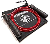 NoLimitsTM - Quality Adjustable Jump Rope, Best for CrossFit Training - MMA - Boxing - WOD - Speed Rope - Exercise and Fitness 100% Lifetime Guarantee (Black/Red)