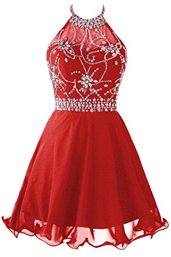 Topdress Women's Short Beaded Prom Dress Halter Homecoming Dress Backless Red US 2