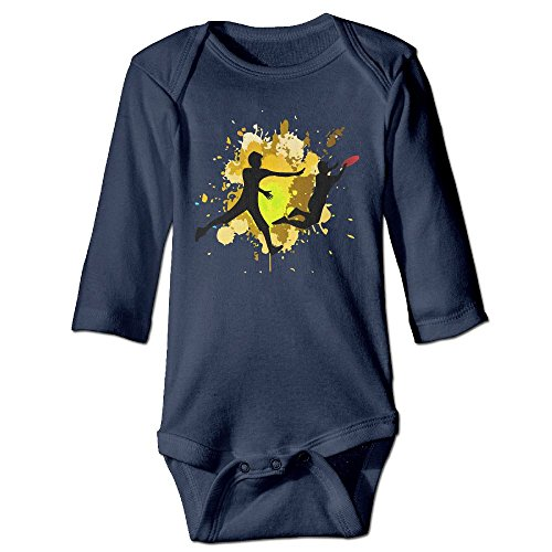 Frisbee Player (CQE Bodysuit Frisbee Player Funny Baby Boys Funny Baby Bodysuit Long-Sleeve Baby Romper)