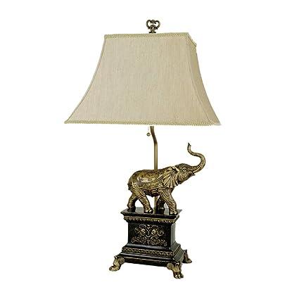 ORE International 8203 Elephant Table Lamp, Antique Gold