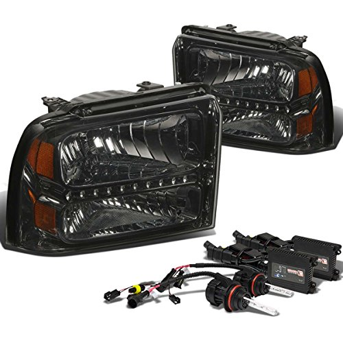 (For Ford Super Duty LED Headlight (Smoke Lens Amber Reflector)+8000K HID+Slim Ballasts - 1st Gen)