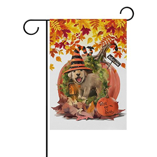 Naanle Trick or Treat Halloween Holiday Polyester Garden Flag 28 x 40 Double Sided, Cute Dog in The Halloween Pumpkin House with Autumn Leaves Decorative House Flag for Party Home Outdoor Decor]()