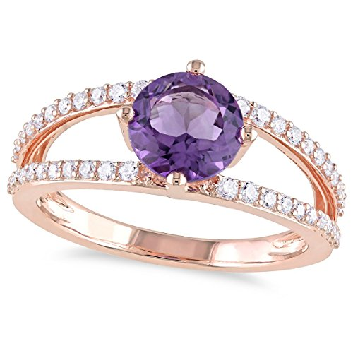 14k Pink Gold 1 1/3ct TGW Amethyst and 1/3ct Diamond Fashion Ring