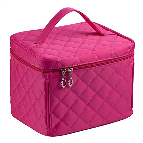 EN'DA big size Nylon Cosmetic bag with quality zipper single layer travel Makeup bags (Rose)