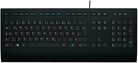 Logitech K280e Pro Teclado con Cable para Windows, Linux, Chrome, Disposición QWERTZ Alemán, Negro