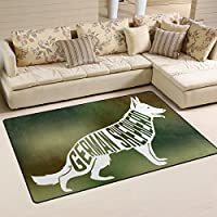 DEYYA German Shepherd Area Rugs Pads Non-Slip Floor Mat Doormats for Living Room Bedroom 60 x 39 inches