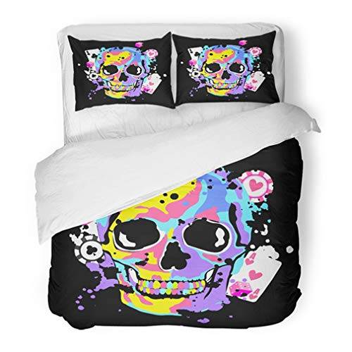 Emvency Bedding Duvet Cover Set Full/Queen (1 Duvet Cover + 2 Pillowcase) Colorful Abstract Color Skull with Game and Dice for Poker Club Black Bone Casino Hotel Quality Wrinkle and Stain Resistant