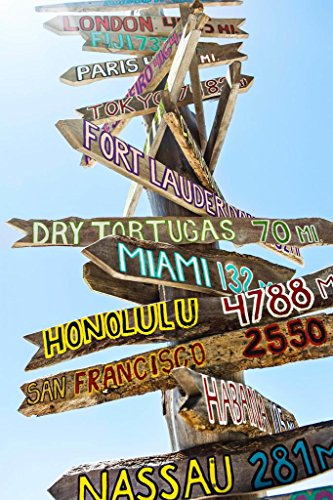 Laminated Key West Florida Wooden Directional Signs Photo Art Print Poster 12x18 inch