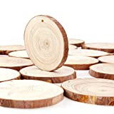 Caydo 20 Pieces 2.75-3.15 Inch Unfinished Predrilled Wood Slices Thickness of 0.8cm Solid Round Log Discsand 33 Feet Natural Jute Twine for Christmas OrnamentsDecorations