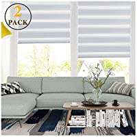 """LUCKUP Easy Fix Zebra Roller Blind,Day and Night Blinds Curtains with Install Accessories (21.7"""" x 59"""" (2 Pack), White) ..."""