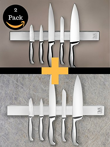 Display 18 Bar Magnetic (18 Inch Wall Mounted Knife Holder | Magnetic Stainless Steel Block | Perfect for the Contemporary Kitchen 2 Pack Bundle)
