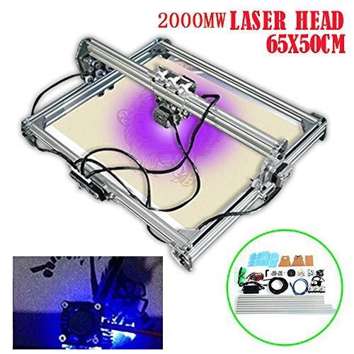 Laser Engraver 2Axis PCB PVC Milling Engraving Machine DC 12V DIY CNC 2000mW Laser Engraving Machine DIY Logo Laser Engraver Printer Wood Carving Engraving Machine 65x50cm