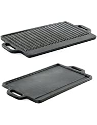 ProSource Professional Heavy Duty Reversible Double Burner Cast Iron Grill Griddle 20 by 9-Inch Black