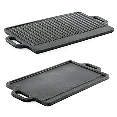 ProSource Kitchen hg-1101-griddle Professional Heavy Duty Reversible Double Burner Cast Iron Grill Griddle, 20 by 9-Inch, Black