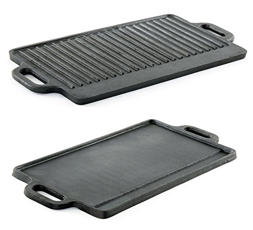 ProSource Professional Heavy Duty Reversible Double Burner Cast Iron Grill Griddle Pan 20 by 9-Inch Black