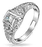 .925 Silver Vintage Art Deco Style CZ Solitaire Milgrain Engagement Ring