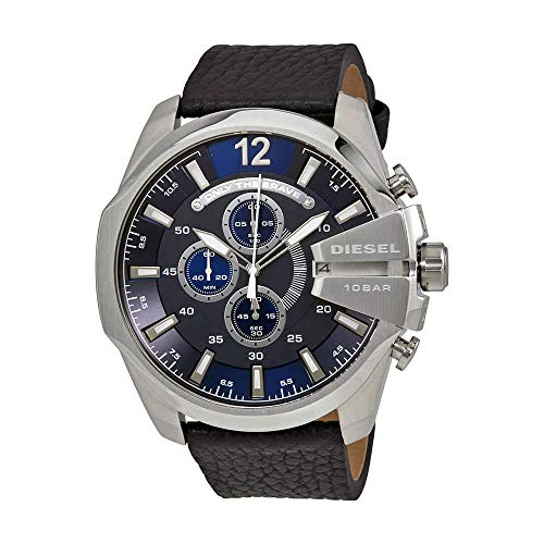 Diesel Silver Black Band Watch - Diesel Men's Mega Chief Quartz Stainless Steel and Leather Chronograph Watch, Color: Silver-Tone, Black (Model: DZ4423)