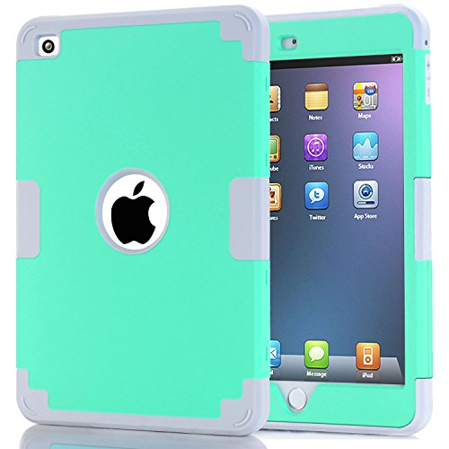 iPad mini 4 Case, iPad mini 4 Retina Case, Easytop Anti-slip Shock-absorption Silicone Inner Bumper High Impact Resistant Hybrid Three Layer Protective Cover Case for iPad mini 4 (Mint + (Easy Halloween Finger Foods)